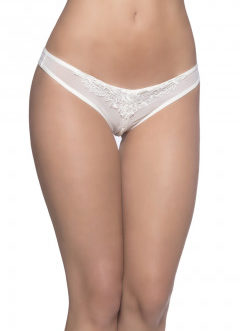 Crotchless Thong w/ Lace Detail and Pearls- White- 3x/4X