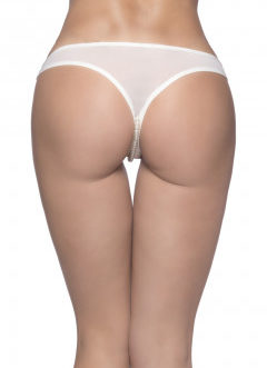 Crotchless Thong w/ Lace Detail and Pearls- White- 1X-2X