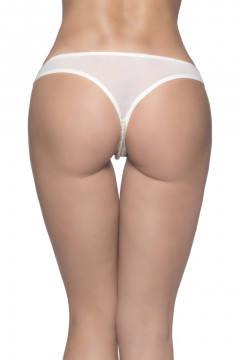 Crotchless Thong w/ Lace Detail and Pearls- White- 1X-2X OH-2066X-WHT-1X/2X