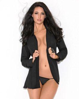 Escante Button-up Boyfriend Shirt w/ Satin Collar & Cuffs- Black- Medium